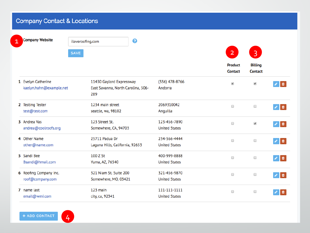 Manage Company Contacts & Locations